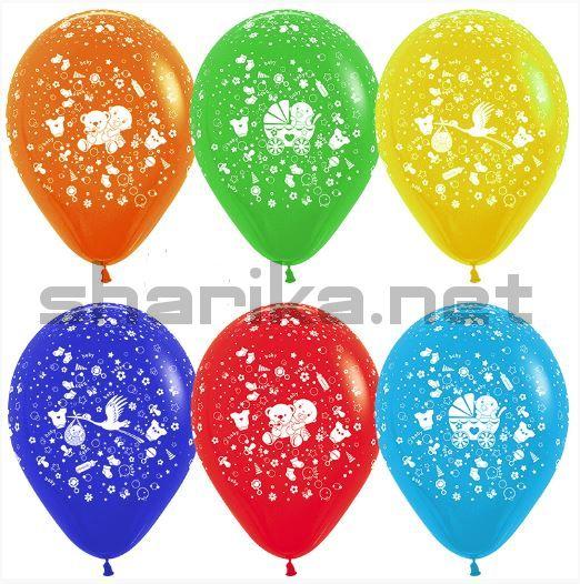 Облако воздушных шаров (12''/30 см) С Новорожденным!, Ассорти, пастель