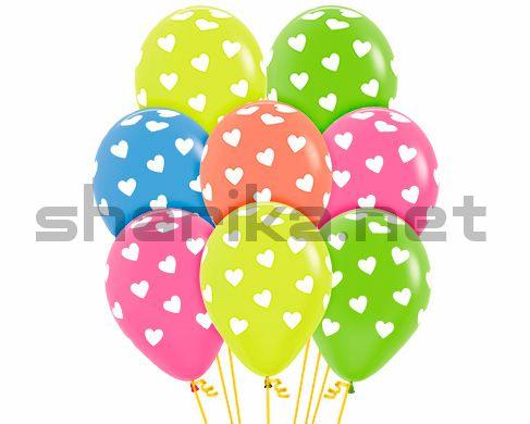 Облако из 15 воздушных шаров Сердца, Ассорти, неон