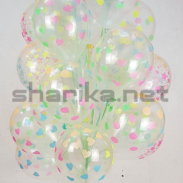 Облако из 15 воздушных шаров Сердца, Прозрачный (390), кристалл, многоцвет флюор