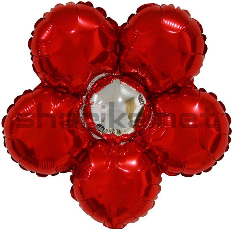 Фольгированный шар (17''/43 см) Фигура, Цветок, Красный, 1 шт.