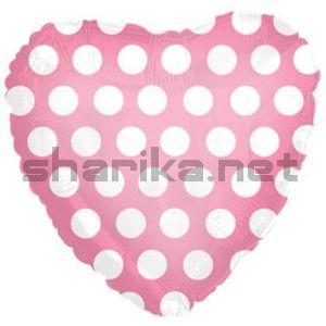 Фольгированный шар (18''/46 см) Сердце, В белый горошек, Розовый, 1 шт.