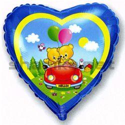Фольгированный шар (18''/46 см) Сердце, Влюбленные мишки в машине, Синий, 1 шт.