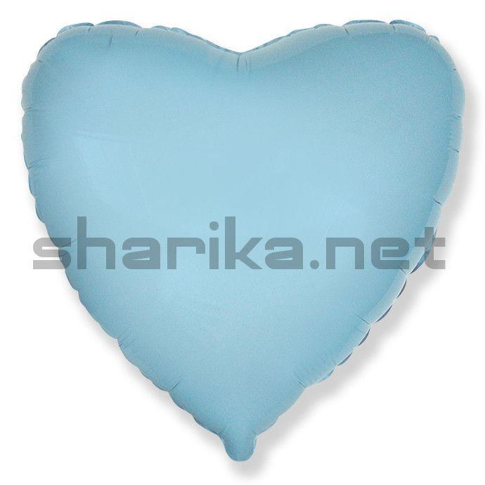 Фольгированный шар (18''/46 см) Сердце, Голубой, 1 шт.