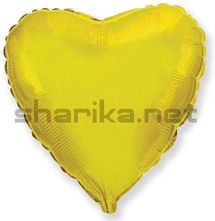 Фольгированный шар (18''/46 см) Сердце, Золото, 1 шт.