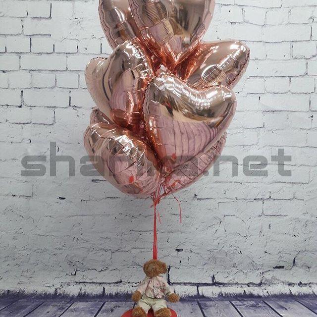 Фольгированный шар (18''/46 см) Сердце, Розовое Золото, 1 шт.