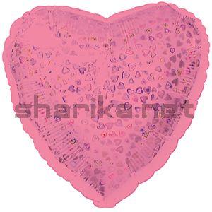 Фольгированный шар (18''/46 см) Сердце, Розовый, голография, 1 шт.