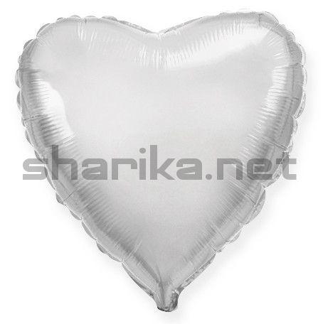 Фольгированный шар (18''/46 см) Сердце, Серебро, 1 шт.