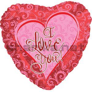 Фольгированный шар (18''/46 см) Сердце, Я люблю тебя (кружевное сердце), Красный, 1 шт.