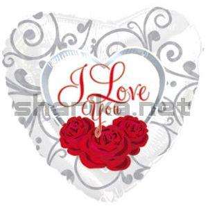 Фольгированный шар (18''/46 см) Сердце, Я люблю тебя (три розы на белом), Белый, 1 шт.