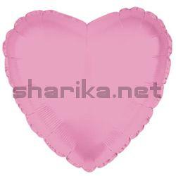 Фольгированный МИНИ-комплект шариков (9''/23 см) Мини-сердце, Розовый, 10 шт.