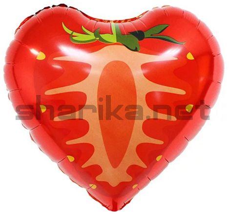 Фольгированный шар (18''/46 см) Сердце, Клубника, Красный