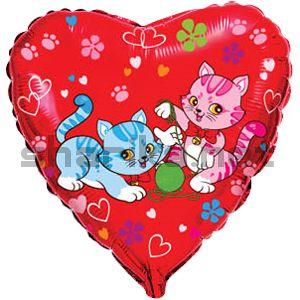 Фольгированный шар (18''/46 см) Сердце, Милые котята, Красный, 1 шт.