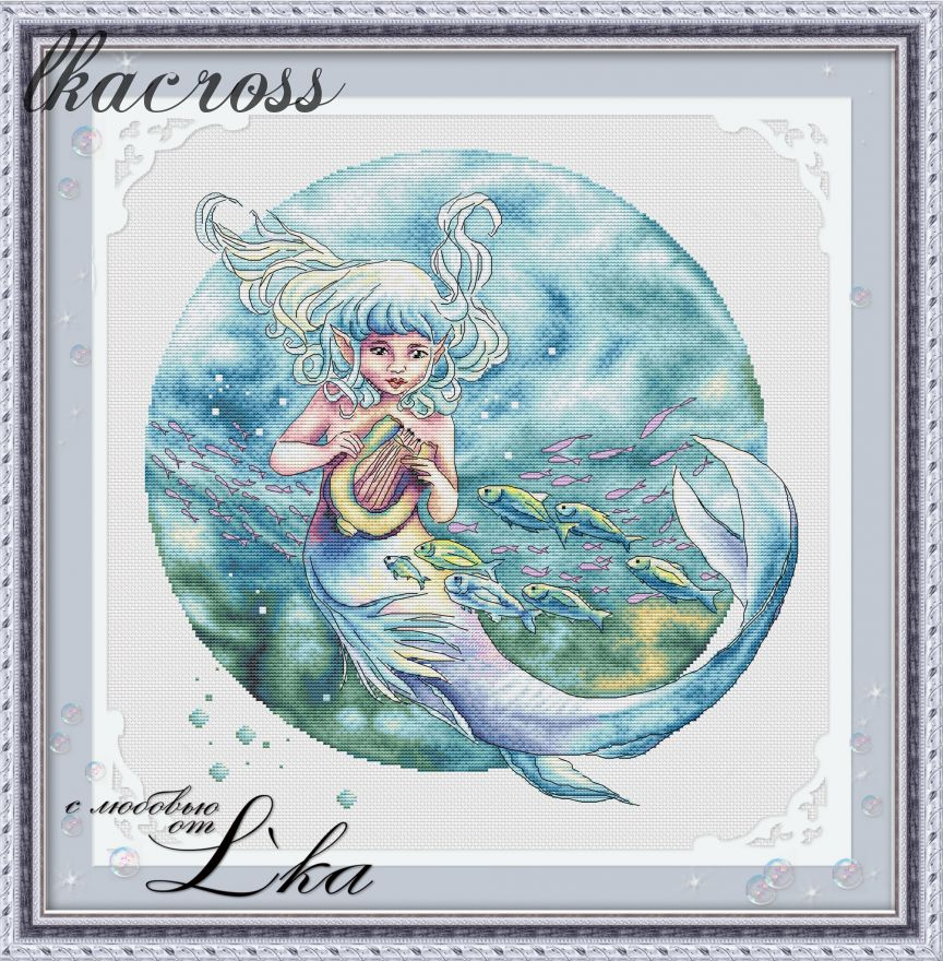 """Ocean child"". Digital cross stitch pattern."