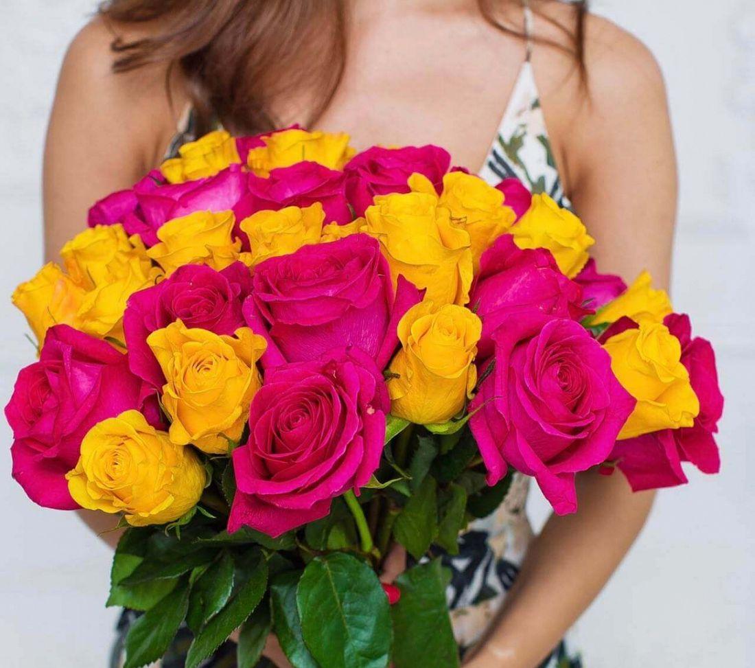 31 роза Pink, Amber