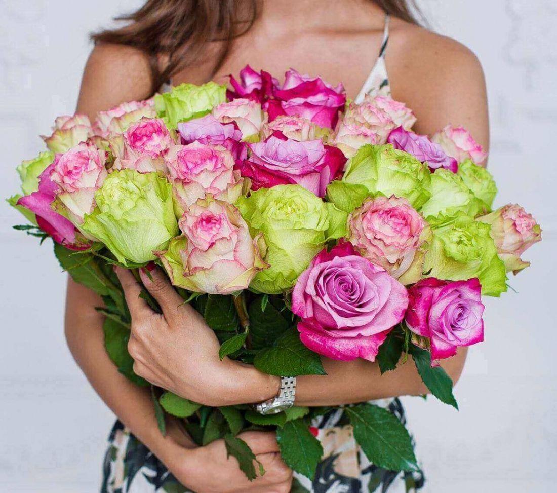 31 роза Purple, White