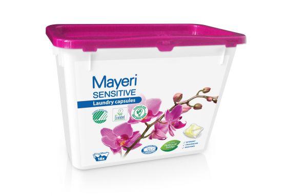 Капсулы для стирки цветного и белого. Гипоаллергенные. Mayeri Sensitive 18 шт.