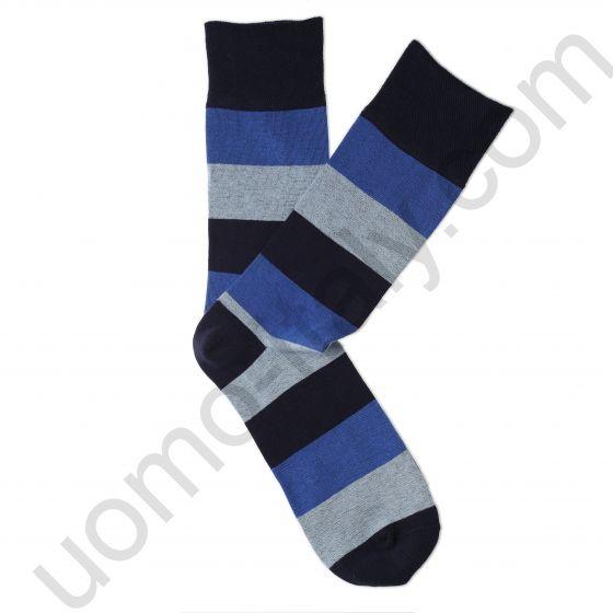 Носки Tezido синие с серой и голубой широкой полосой