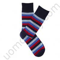 Носки Tezido синие в среднюю разноцветную полоску
