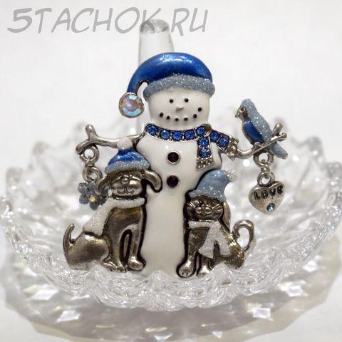 "Брошь ""Снеговичок с друзьями"" (KC США)"