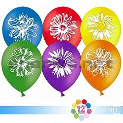Облако воздушных шариков (12''/30 см) Цветы ассорти