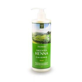 Deoproce Greentea Henna Pure Refresh Rinse 1000ml - обновляющий бальзам для волос с с зеленым чаем и хной