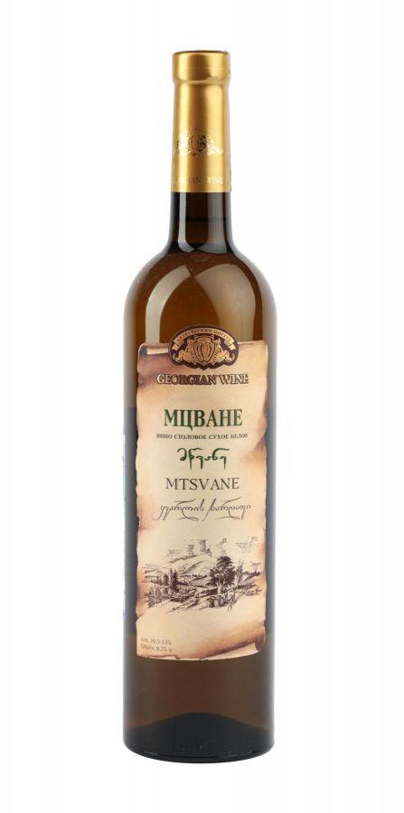 Вино Мцване, Кварельский Погреб, белое, сухое, 0,75