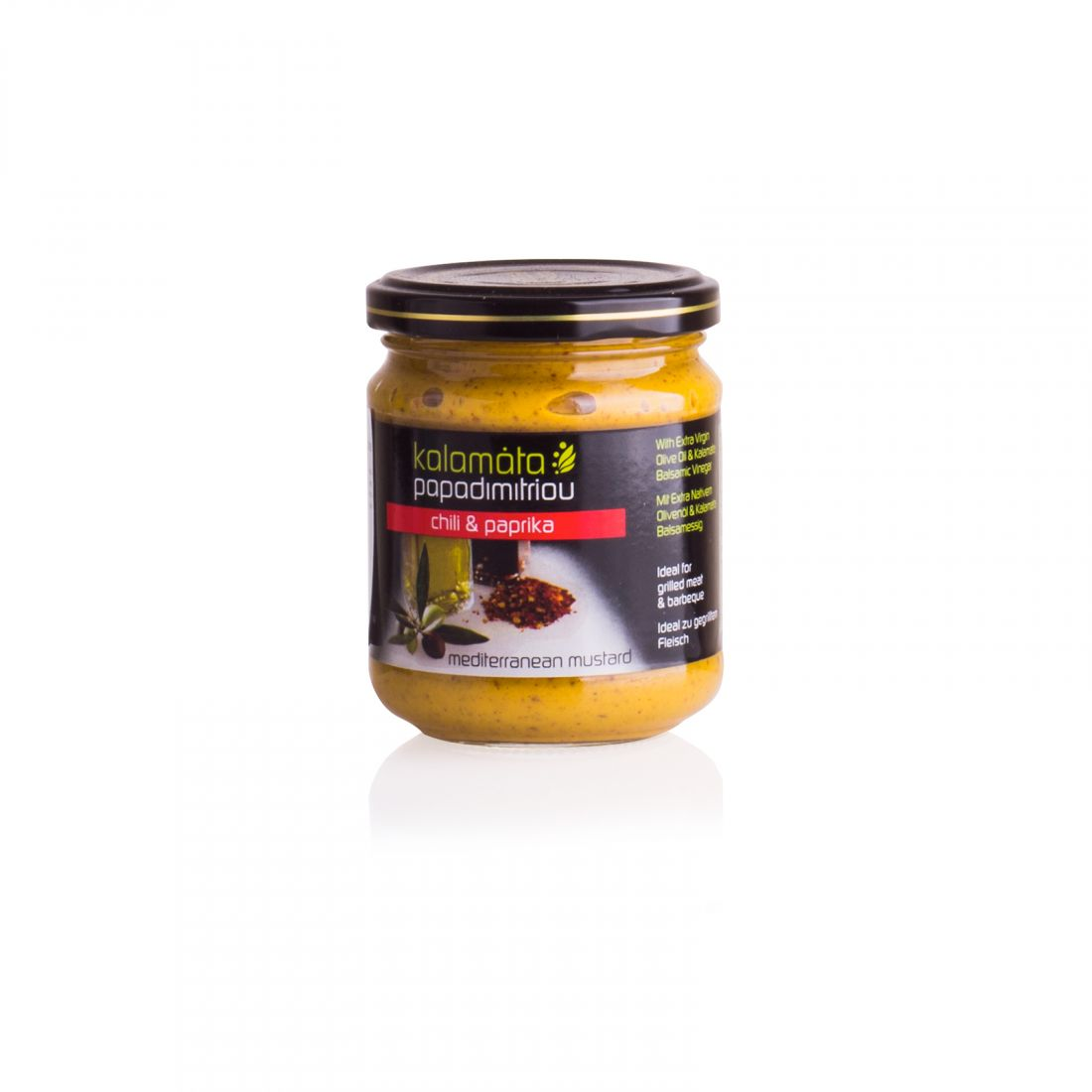 Горчица с оливковым маслом и бальзамическим уксусом Kalamata Papadimitriou - 200 гр - в стекле