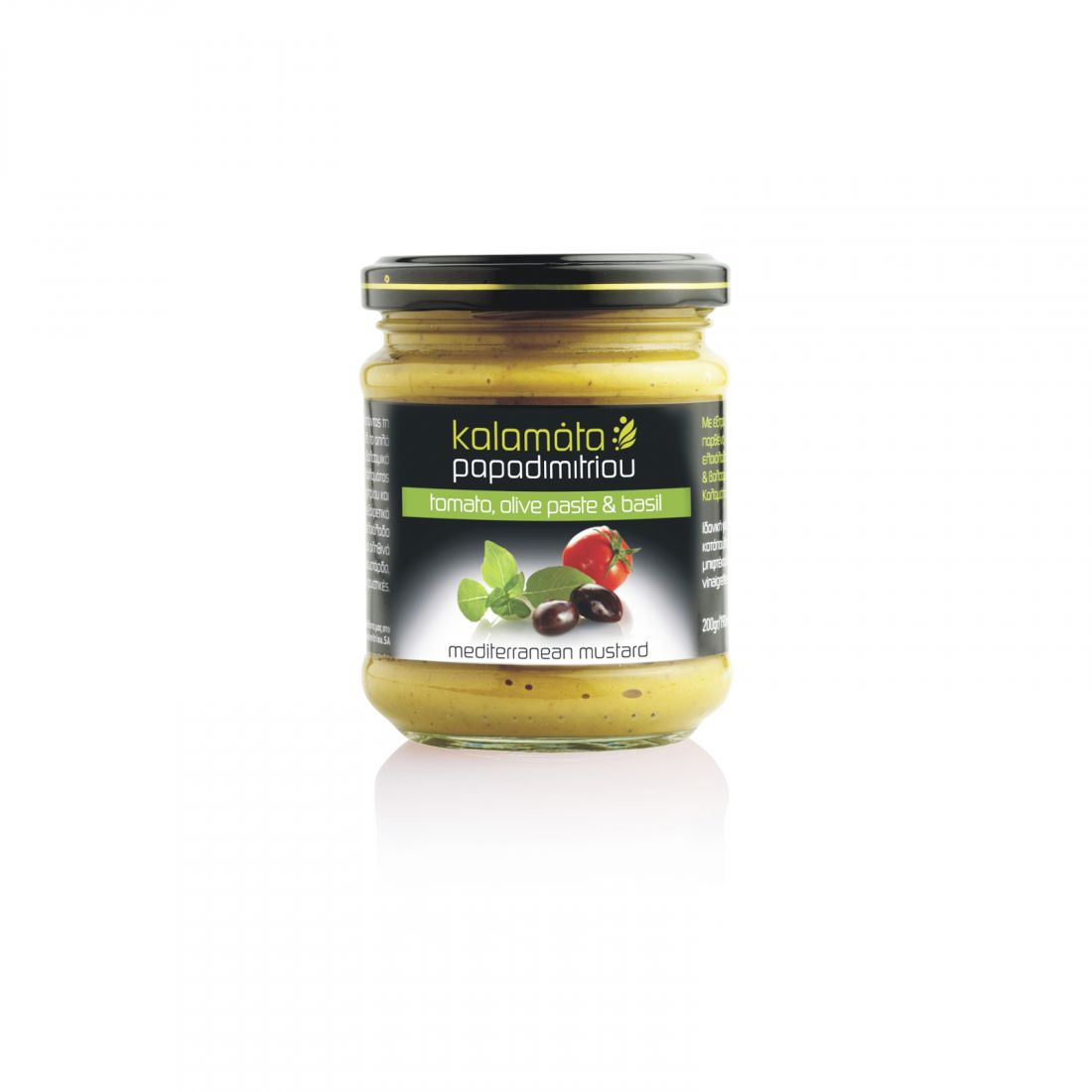 Горчица с оливковой пастой, томатами и базиликом Kalamata Papadimitriou - 200 гр - в стекле