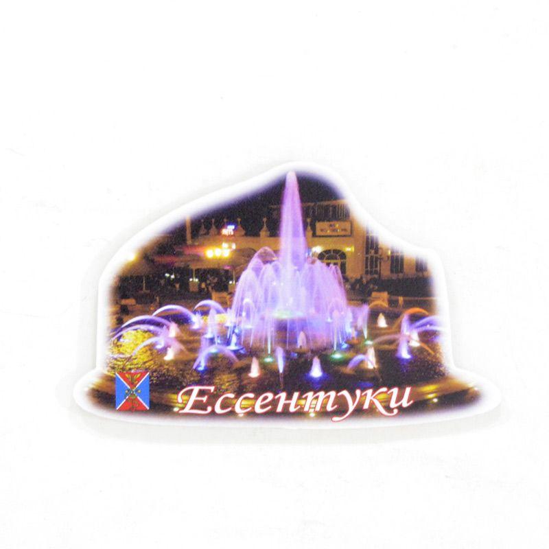 """Сувенирный пластиковый магнит """"Ессентуки. Ночной фонтан в курортном парке"""""""