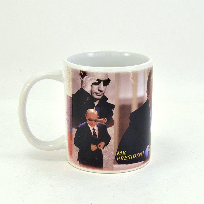 """Коллекционная сувенирная кружка с Путиным """"Mr. President"""" с подборкой фото на фоне триколора"""