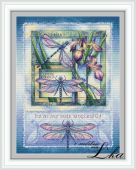 """Схема для вышивания крестиком """"Ночные стрекозы""""."""