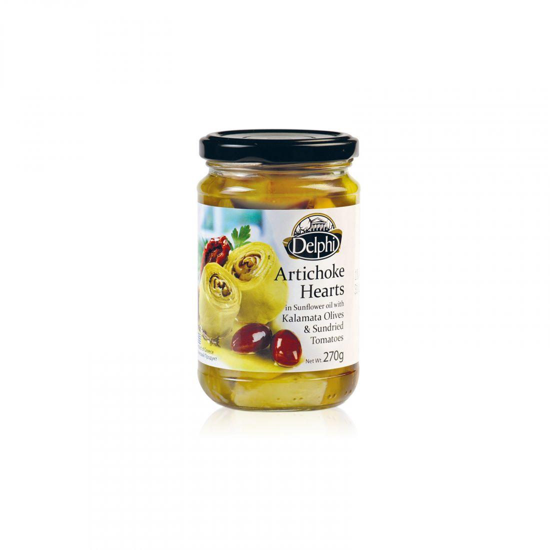 Артишоки в подсолнечном масле с сушеными томатами и маслинами Kalamata Delphi - 270 гр