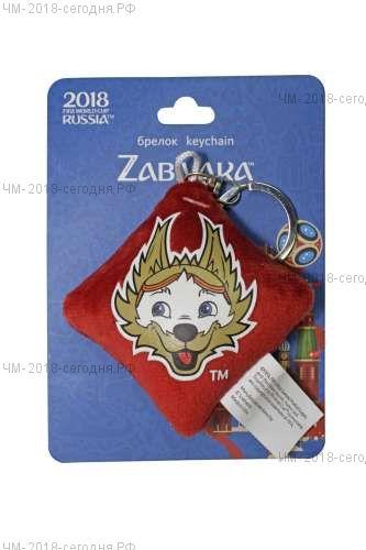 FIFA-2018 плюш.брелок-подушечка с термопринтом Zabivaka Head 6х6 см на карте 9х12 см
