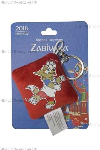 FIFA-2018 плюш.брелок-подушечка с термопринтом Zabivaka Header 6х6 см на карте 9х12 см