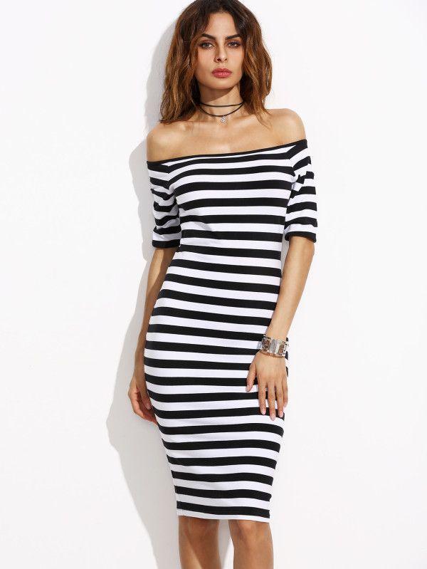 Чёрно-Белое Полосатое Платье С Открытыми Плечами