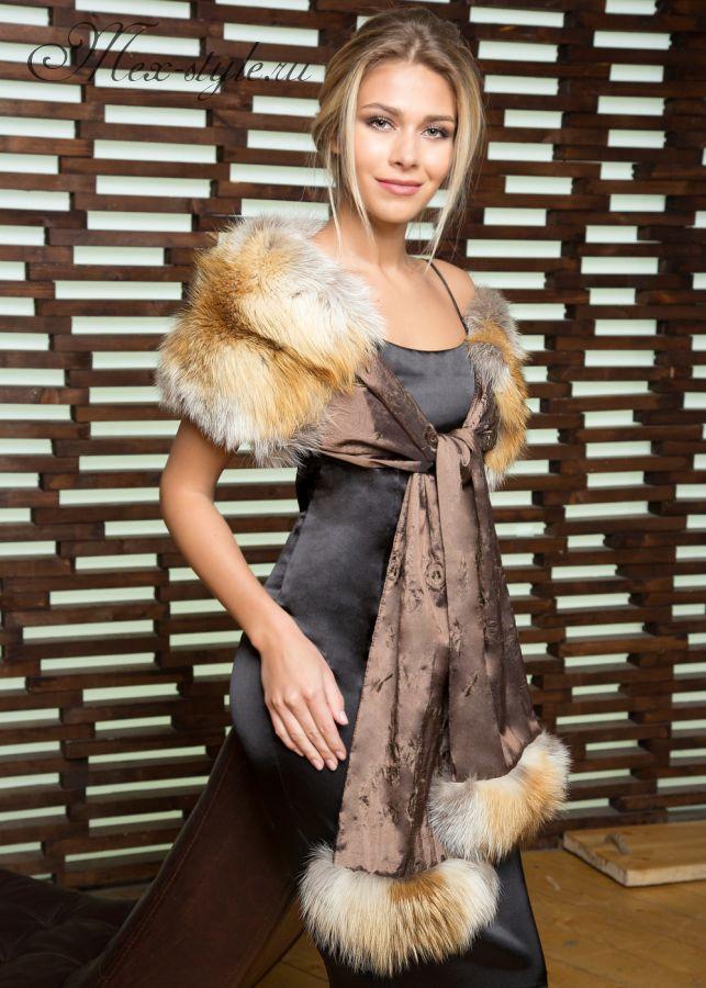 Шарф-воротник с мехом лисы