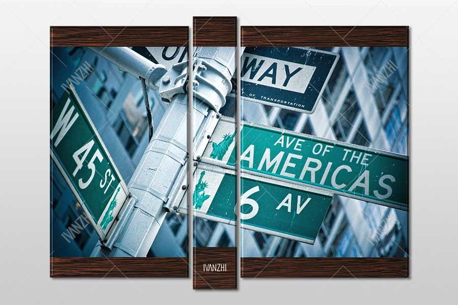 Модульная картина - Указатель 6 Авеню в Нью-Йорке