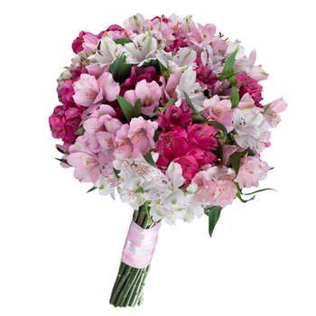 Букет невесты из альстромерии «Фламинго»