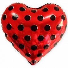 """Сердце,чёрные точки, красный, 18""""/ 46 см"""