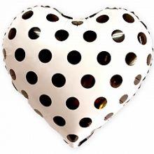 """Сердце, чёрные точки, белый, 18""""/ 46 см"""