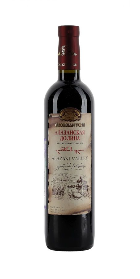 Вино Алазанская долина, Кварельский Погреб, красное, полусладкое, 0,5