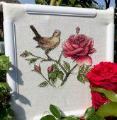 Схема для вышивки крестом Соловей и роза. Отшив.