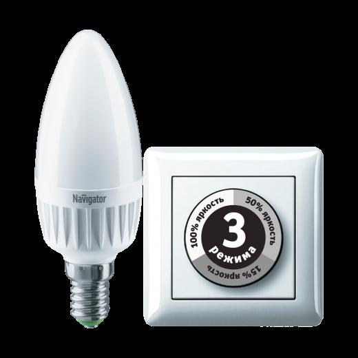 Лампа C37 светодиодная 7 Вт. 3STEPDIMM Navigator Е14