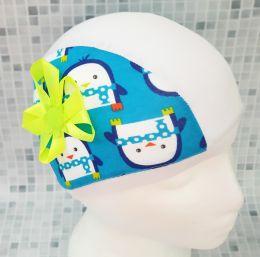 Пингвины с цветком Текстильная шапочка для плавания
