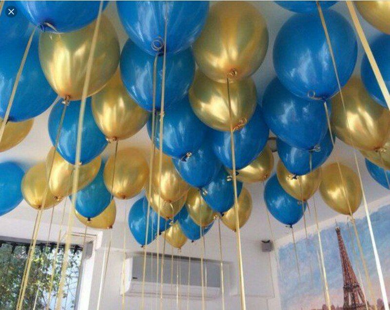 Набор шаров металлик (цвет - blue and gold)