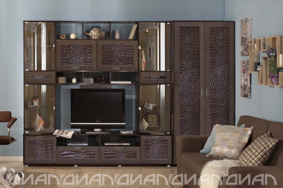 Гостиная Аллегро вариант-4 Caiman коричневый со шкафом