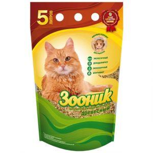 Наполнитель для кошек ЗООНИК Древесный, 5л.