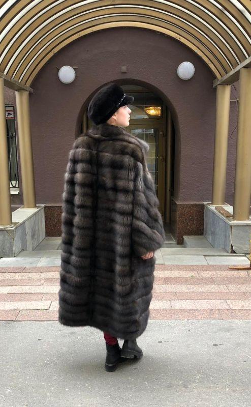 Кимоно. Длинная шуба из соболя High class.Натуральный цвет