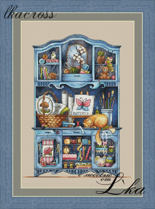 """Handmade commode"". Digital cross stitch pattern."