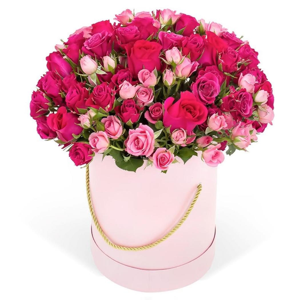 """Букет из кустовых роз """"Малиновое настроение"""""""